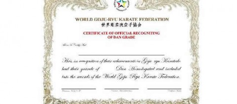 Regulations for WGKF Dan Grade certificate